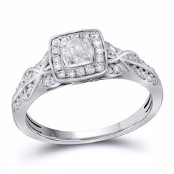 0.49 CTW Diamond Solitaire Bridal Wedding Engagement Ring 14kt White Gold