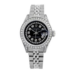 Rolex Pre-owned 26mm Womens Custom Black String Diamonds Stainless Steel