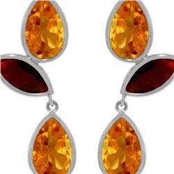 Genuine 13 ctw Citrine & Garnet Earrings 14KT White Gold