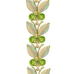 Genuine 12 ctw Opal & Peridot Bracelet 14KT White Gold