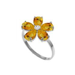 Genuine 2.22 ctw Citrine & Diamond Ring 14KT White Gold