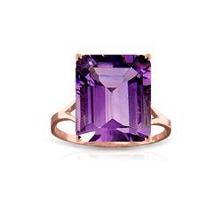 Genuine 6.5 ctw Amethyst Ring 14KT Rose Gold