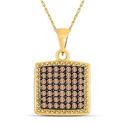 0.50 CTW Brown Diamond Square Pendant 10kt Yellow Gold