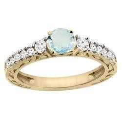 1.10 CTW Aquamarine & Diamond Ring 14K Yellow Gold