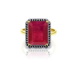 Genuine 7.45 ctw Ruby & Black Diamond Ring 14KT Yellow Gold