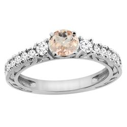 1.05 CTW Morganite & Diamond Ring 14K White Gold