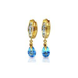 Genuine 4.2 ctw Blue Topaz Earrings 14KT Yellow Gold