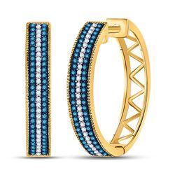 0.50 CTW Blue Color Enhanced Diamond Hoop Earrings 10kt Yellow Gold