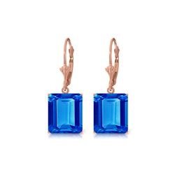 Genuine 13 ctw Blue Topaz Earrings 14KT Rose Gold