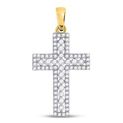 0.50 CTW Diamond Cross Faith Pendant 14kt Yellow Gold