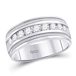 0.98 CTW Diamond Single Row Textured Wedding Ring 14kt White Gold