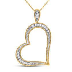 0.05 CTW Diamond Outline Heart Pendant 10kt Yellow Gold