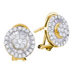 1.10 CTW Diamond Cluster French-clip Earrings 14kt Yellow Gold