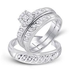 0.30 CTW Diamond Cluster Matching Bridal Wedding Ring 10kt White Gold