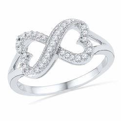 0.16 CTW Diamond Infinity Heart Ring 10kt White Gold