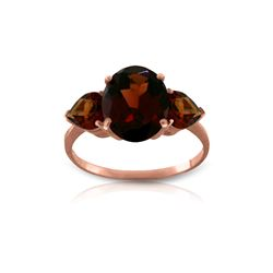 Genuine 4.1 ctw Garnet Ring 14KT Rose Gold