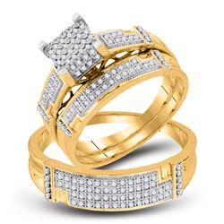 0.50 CTW Diamond Square Matching Bridal Wedding Ring 10kt Yellow Gold