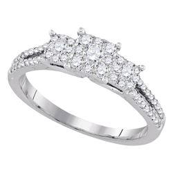 0.51 CTW Diamond 3-stone Bridal Wedding Engagement Ring 14kt White Gold