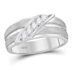 0.27 CTW Diamond Diagonal Row Ridged Matte Wedding Ring 10kt White Gold