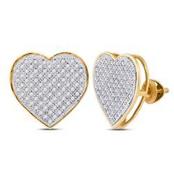 0.50 CTW Diamond Heart Earrings 10kt Yellow Gold