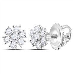 0.12 CTW Diamond Flower Cluster Burst Earrings 14kt White Gold