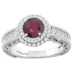 1.50 CTW Ruby & Diamond Ring 14K White Gold