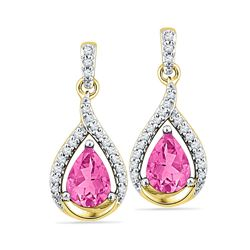 3.20 CTW Lab-Created Pink Sapphire Dangle Earrings 10kt Yellow Gold