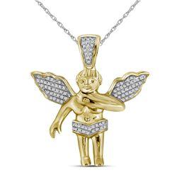 0.16 CTW Diamond Polished 3D Guardian Angel Cherub Charm Pendant 10kt Yellow Gold