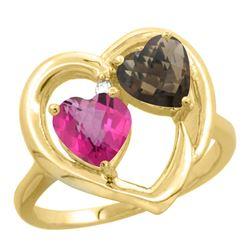 2.61 CTW Diamond, Pink Topaz & Quartz Ring 10K Yellow Gold