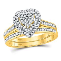 0.33 CTW Diamond Heart Bridal Wedding Engagement Ring 10kt Yellow Gold