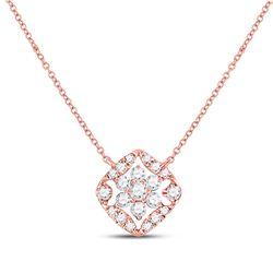 0.34 CTW Diamond Floral Cluster Necklace 14kt Rose Gold