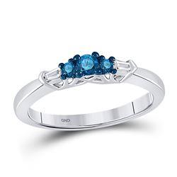 0.27 CTW Blue Color Enhanced Diamond 3-stone Bridal Wedding Ring 10kt White Gold