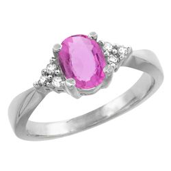 1.06 CTW Pink Sapphire & Diamond Ring 10K White Gold