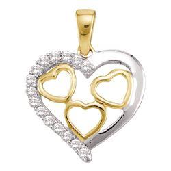 0.18 CTW Diamond 2Tone Nested Heart Pendant 10kt Yellow Gold