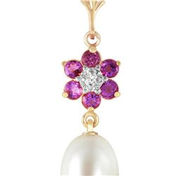 Genuine 4.53 ctw Pearl, Amethyst & Diamond Necklace 14KT Yellow Gold