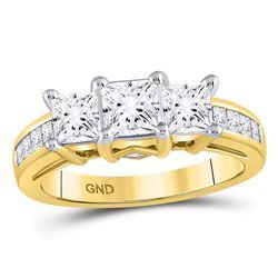 1.99 CTW Diamond 3-stone Bridal Wedding Engagement Ring 14kt Yellow Gold