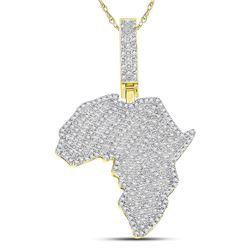 0.62 CTW Diamond Africa Continent Charm Pendant 10kt Yellow Gold