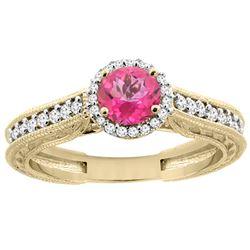1.24 CTW Pink Topaz & Diamond Ring 14K Yellow Gold