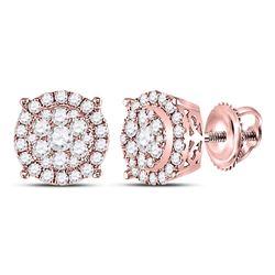 0.50 CTW Diamond Circle Cluster Earrings 14kt Rose Gold