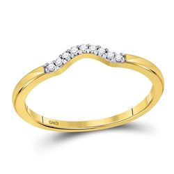 0.05 CTW Diamond Contoured Solitaire Enhancer Wedding Ring 10kt Yellow Gold