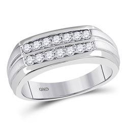 0.51 CTW Diamond Double Row Wedding Ring 14kt White Gold