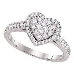 0.50 CTW Diamond Heart Cluster Ring 14kt White Gold