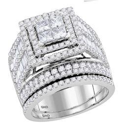 3 CTW Diamond Bridal Wedding Engagement Ring 14kt White Gold