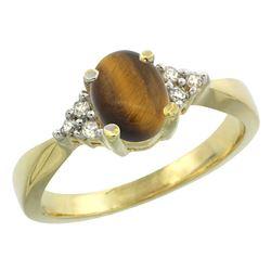 0.81 CTW Tiger Eye & Diamond Ring 14K Yellow Gold