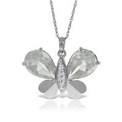 Genuine 11.10 ctw White Topaz & Diamond Necklace 14KT White Gold