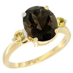2.64 CTW Quartz & Yellow Sapphire Ring 10K Yellow Gold