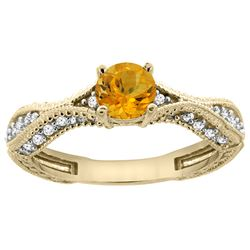 0.67 CTW Citrine & Diamond Ring 14K Yellow Gold