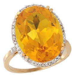 13.71 CTW Citrine & Diamond Ring 14K Yellow Gold