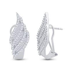 1.35 CTW Diamond French-Clip Hoop Earrings 14kt White Gold