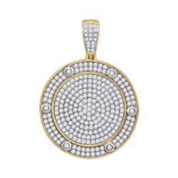 1.55 CTW Diamond Circle Medallion Charm Pendant 10kt Yellow Gold